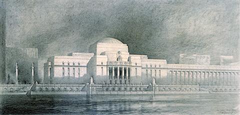 Piirustus Detroitin rannasta, jota hallitsee vaikuttava rakennus.