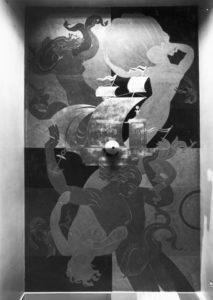 Kuva Hesperiankatu 9:n A-rapun kattomaalauksesta.