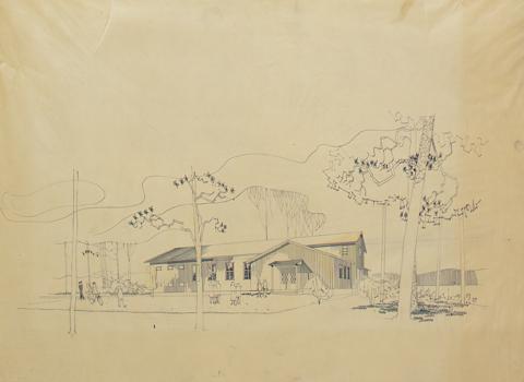 Mallipiirustus seurantalosta. Piirustuksessa puurakenteinen seurantalo on kuvattu ihmisten ympäröimänä puisessa rinteessä.