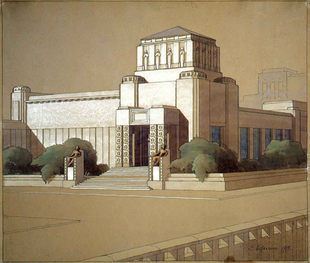 44-2523, Eliel Saarinen, Taidehalli, suunnitelma