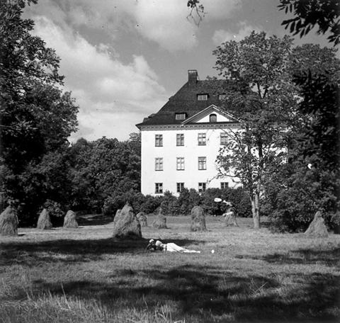 Valokuva Louhisaaren kartanon pihalta. Edustalla ihminen makaa juuri niitetyllä pellolla heinäseipäitä ja taaempana lehtipuun takana näkyy kartanon päärakennus.