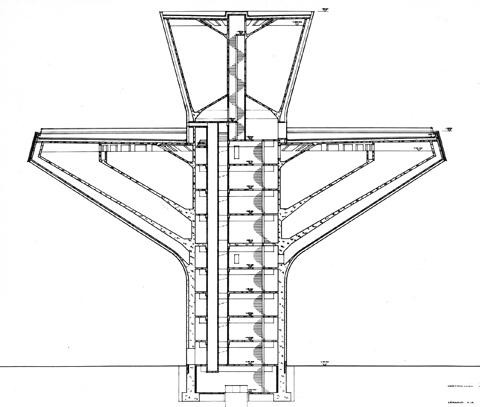 Leikkauspiirustus vesitornista. Piirustuksen vesitornin vesisäiliö muodotuu kahdesta kartionmuotoisesta osasta.