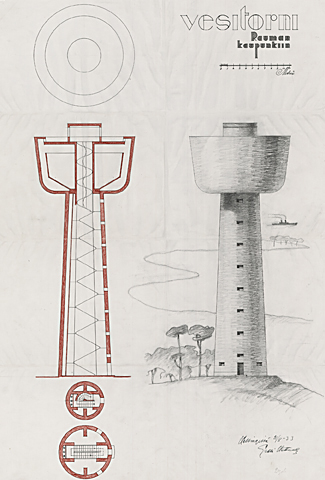 Rauman vesitorni -piirustus. Piirustuksessa on sekä leikkauspiirustus että ulkoperspektiivipiirustus rinnakkain.