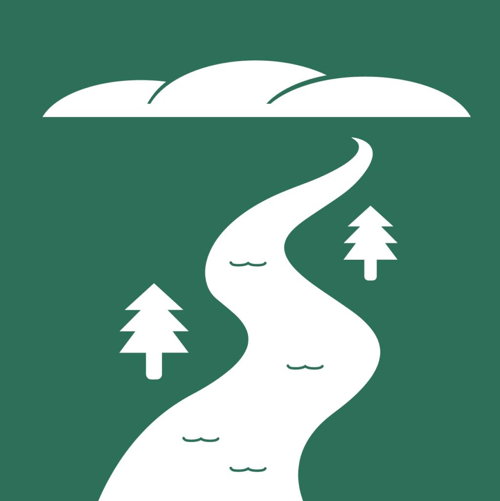 Valkoiset vuoret, mutkitteleva joki ja muutama kuusisilhuetti tummanvihreällä taustalla.