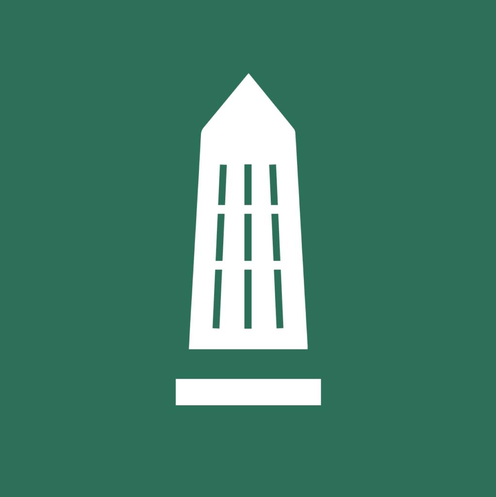 Valkoinen tornimainen rakennus tumman vihreällä taustalla.