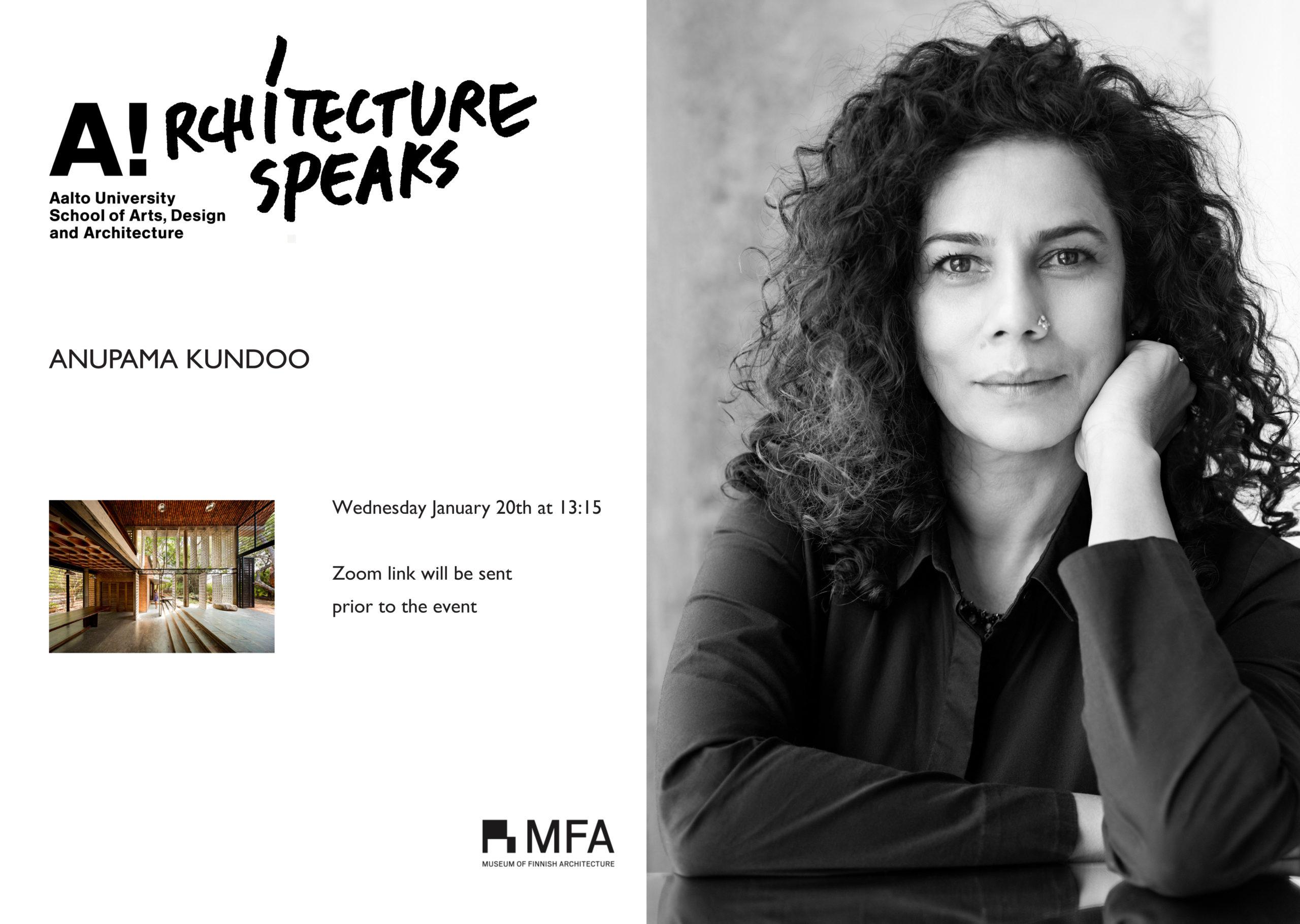 Architecture Speaks -luentojulisteessa arkkitehti Anupama Kundoo