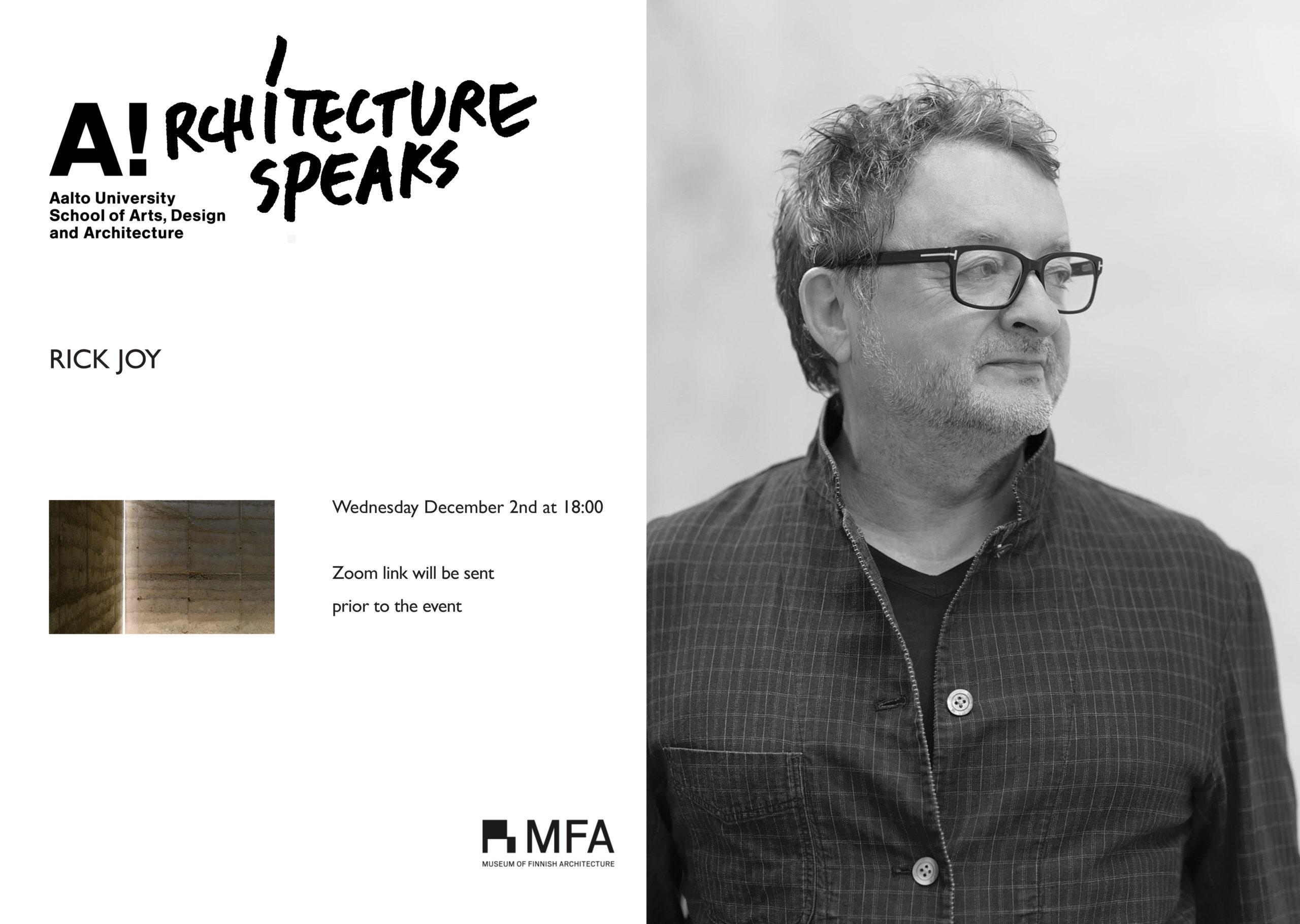 Architecture Speaks-puhujajuliste, jossa arkkitehti Rick Joy